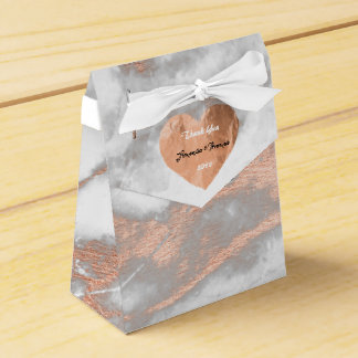 Rose Gold Marble Copper Heart 16th Wedding Favor Favour Box