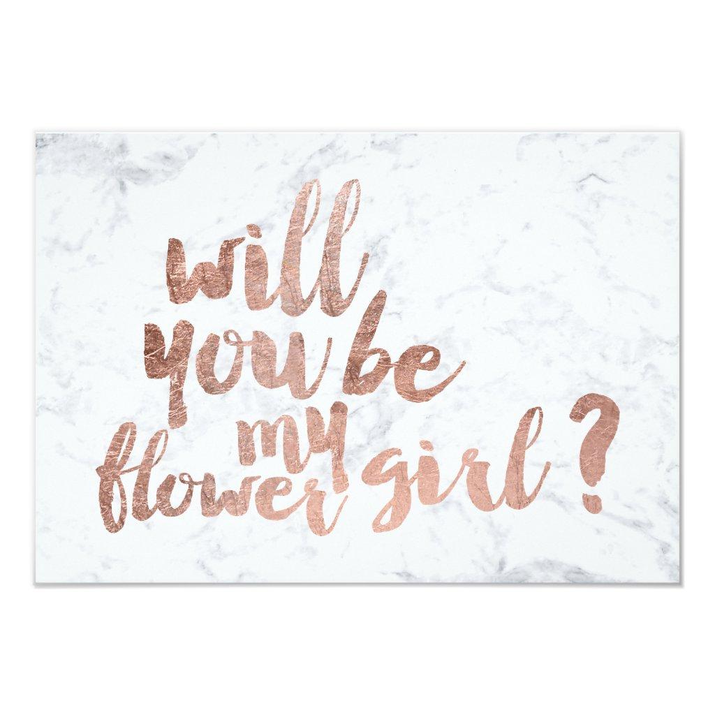 Rose gold marble flower girl card