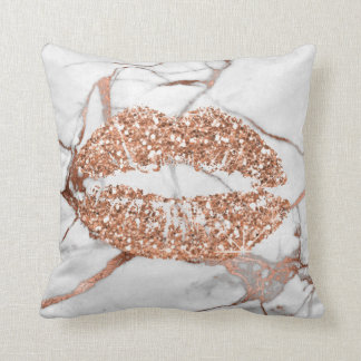 Rose Gold Marble Kiss Lips Makeup Copper Cushion