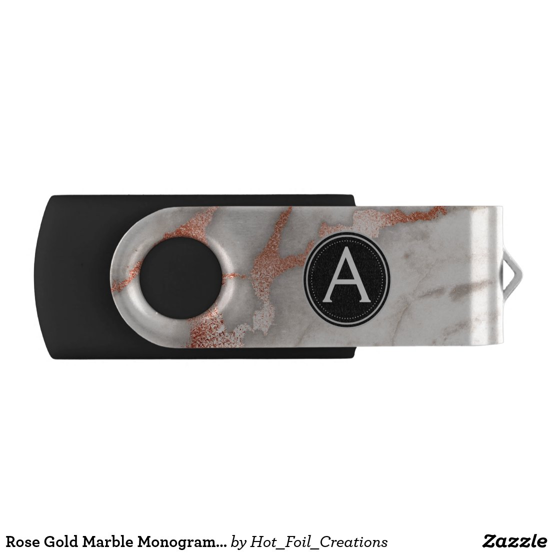 Rose Gold Marble Monogram USB Thumb Drive