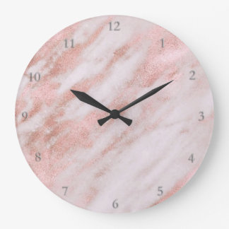 rose gold marble stone large clock