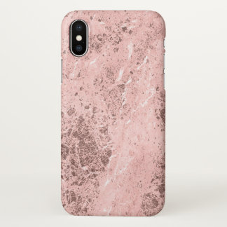 Rose Gold Marble Stone Look iPhone X Case