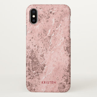 Rose Gold Marble Stone Look Personalized Name iPhone X Case