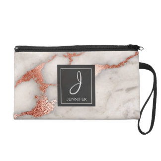 Rose Gold Marble Stone Monogrammed Wristlet