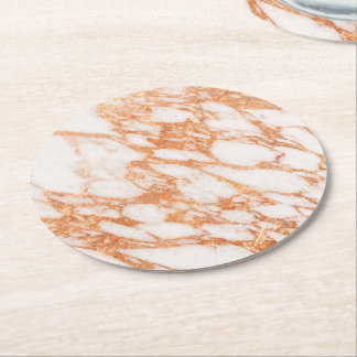 rose gold marble stone round paper coaster
