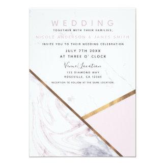 Rose Gold Marble Swirl Blush Pink Wedding Card