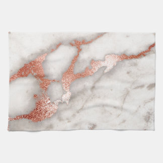 Rose Gold Marble Texture Tea Towel