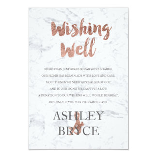 Rose gold marble typography wishing well wedding card