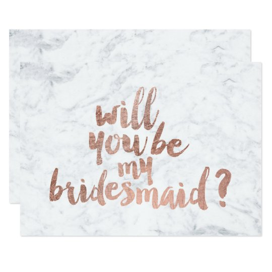Will you be my bridesmaid cards invitations zazzle rose gold marble will you be my bridesmaid card pronofoot35fo Image collections