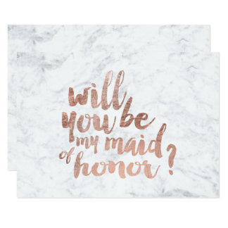 Rose gold marble Will you be my maid of honor 9 Cm X 13 Cm Invitation Card