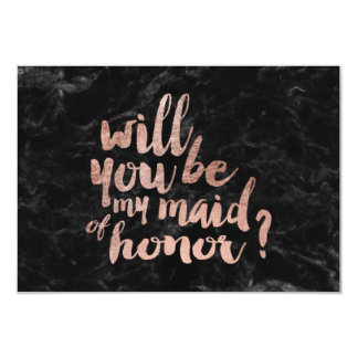 Rose gold marble Will you be my maid of honor bl Card