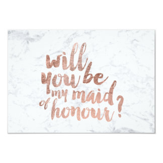 Rose gold marble Will you be my maid of honour 9 Cm X 13 Cm Invitation Card