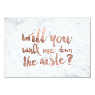 Rose gold marble will you walk me down the aisle 9 cm x 13 cm invitation card
