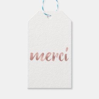 "Rose gold ""merci"" favor tags, foil, horizontal"