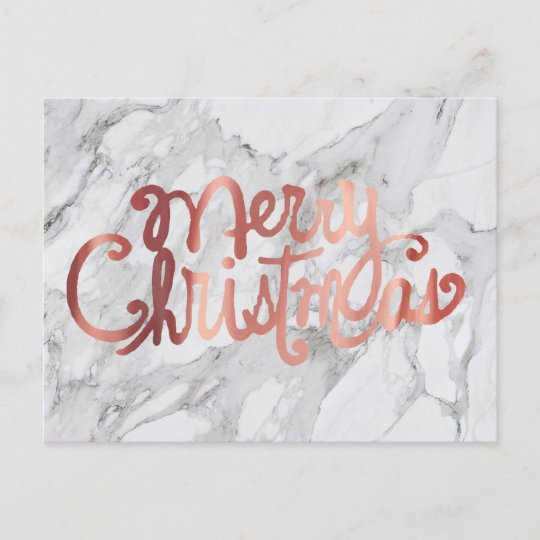 rose gold merry christmas calligraphy on marble holiday postcard