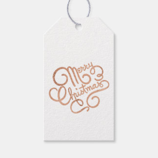 Rose Gold Merry Christmas Gift Tag