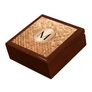 Rose Gold Metallic Look Pattern with Monogram Gift Box