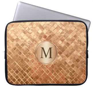 Rose Gold Metallic-Look Pattern with Monogram Laptop Sleeve