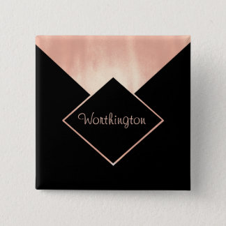 Rose Gold Metallic Professional  Feminine Modern 15 Cm Square Badge