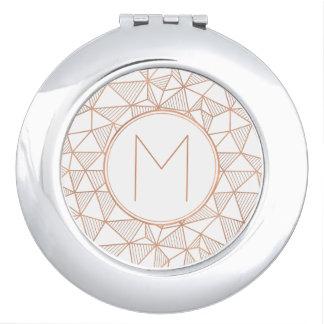 Rose Gold Modern Geometric Pattern Monogram Mirror For Makeup
