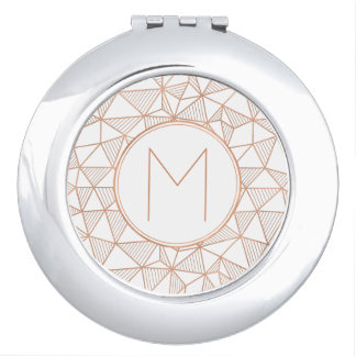 Rose Gold Modern Geometric Pattern Monogram Mirrors For Makeup