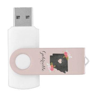 Rose Gold Monogram Arkansas State Moveable Heart USB Flash Drive