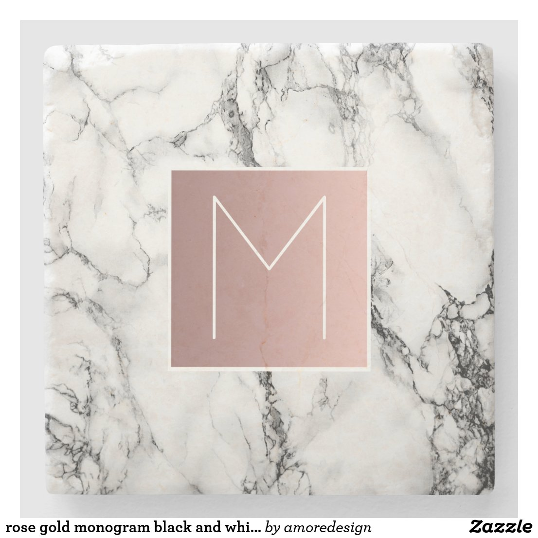 rose gold monogram coaster