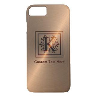 Rose Gold Monogram K iPhone 7 Case