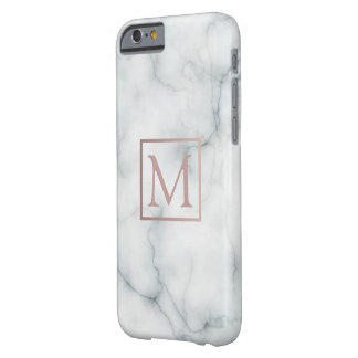 rose gold monogram on black and white marble stone barely there iPhone 6 case