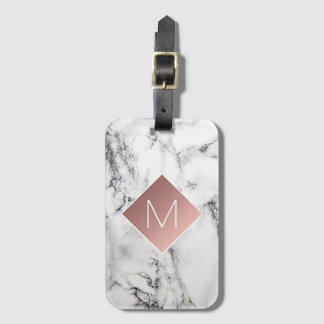 rose gold monogram on black white marble stone luggage tag
