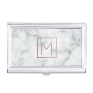 rose gold monogram on marble business card holder
