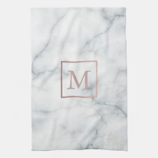 rose gold monogram on white marble tea towel
