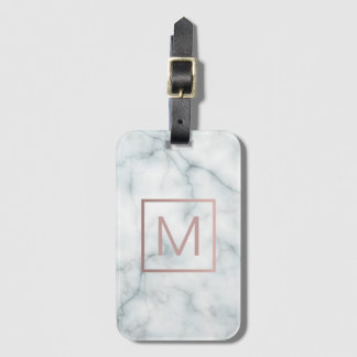 rose gold monogram on white stone luggage tag