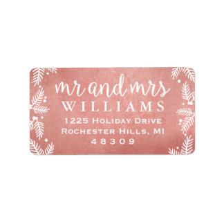 Rose Gold Mr and Mrs   Holiday Address Labels