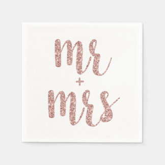 Rose gold Mr. & Mrs. cocktail napkins, glitter Disposable Serviette