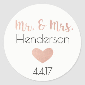 Rose Gold, Mr. & Mrs. Stickers- Wedding Favors Classic Round Sticker
