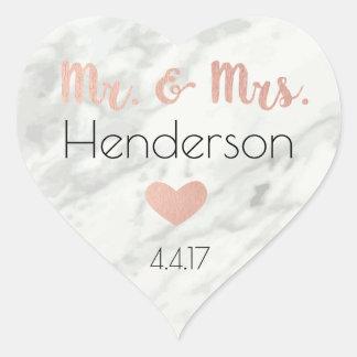 Rose Gold, Mr. & Mrs. Stickers- Wedding Favors Heart Sticker