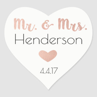 Rose Gold, Mr. & Mrs. Stickers- Wedding Favors Heart Sticker