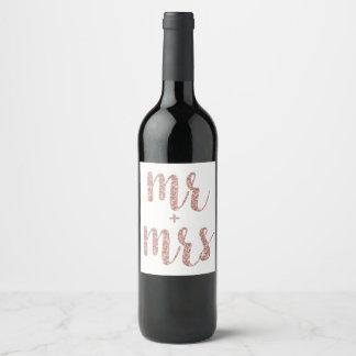 Rose gold Mr. & Mrs. wine label, glitter Wine Label