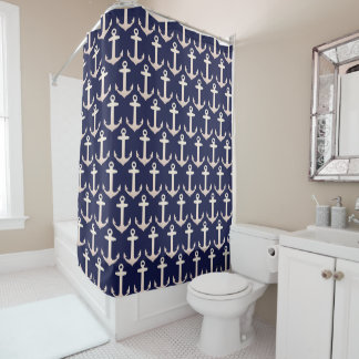 Rose Gold Nautical Anchor Shower Curtain