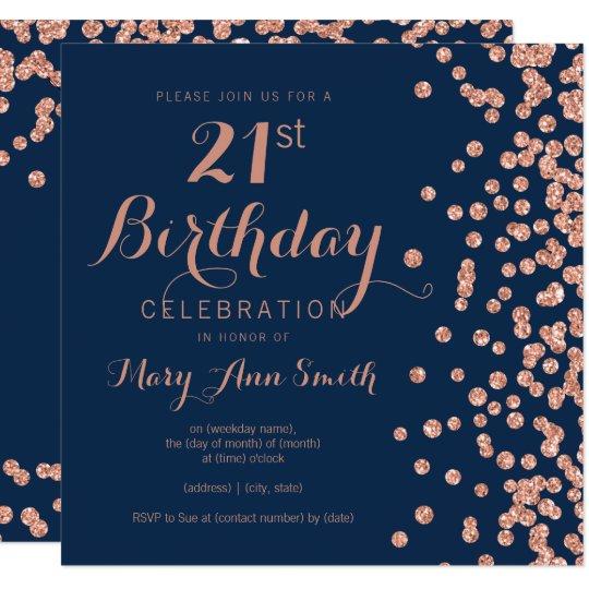 Rose Gold Navy 21st Birthday Glitter Confetti Invitation