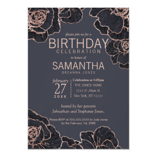 Rose Gold Navy Blue Flowers Birthday Party Card