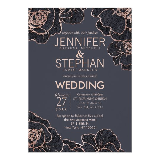Rose Gold Navy Blue Flowers Wedding Invitations