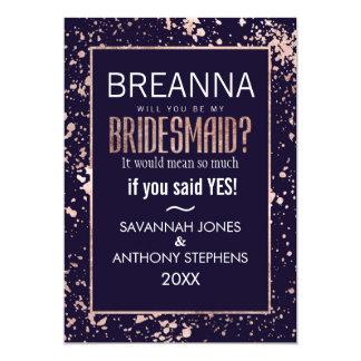 Rose Gold Navy Blue Paint Splatters Bridesmaids 13 Cm X 18 Cm Invitation Card