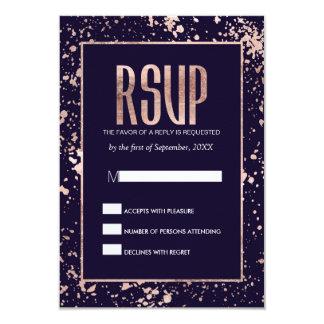 Rose Gold Navy Blue Paint Splatters RSVP Cards