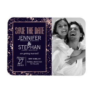 Rose Gold Navy Blue Paint Splatters Save the Dates Rectangular Photo Magnet