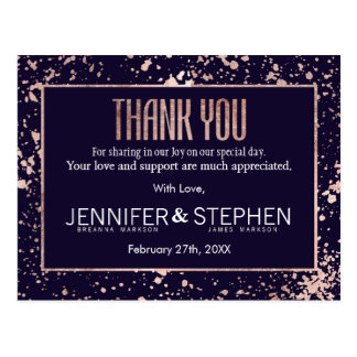 Rose Gold Navy Blue Paint Splatters Thank You Postcard