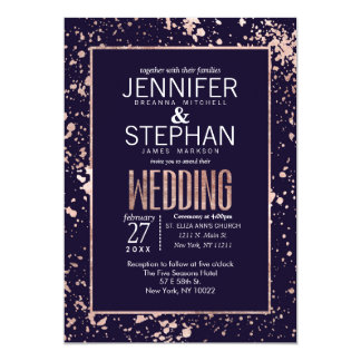 Rose Gold Navy Blue Paint Splatters Wedding Invite