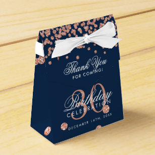 Rose Gold Navy Thank You 30th Birthday Confetti Favour Box