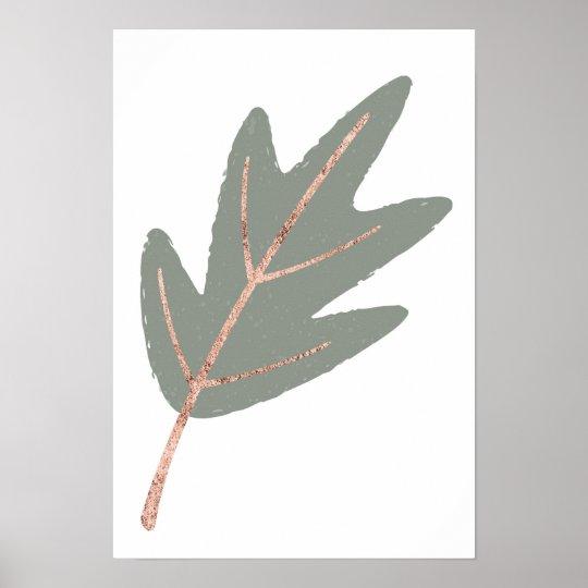 Rose Gold Oak Leaf Wall Print